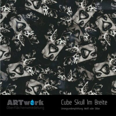 ARTwork, Wassertransferdruck, Folie Cube Skull, 1m Breite