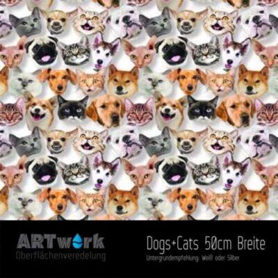 ARTwork, Wassertransferdruck, Folie Dogs + Cats, 50cm Breite