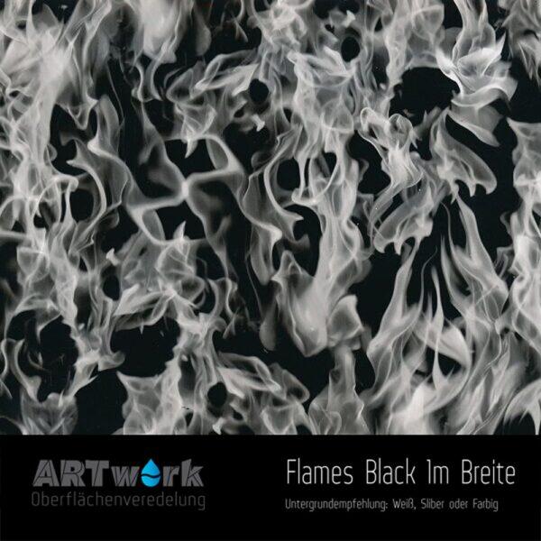 ARTwork, Wassertransferdruck, Folie Flames Black,1m Breite
