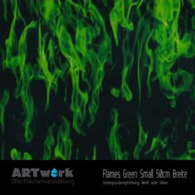 ARTwork, Wassertransferdruck, Folie Flames Green Small, 50cm Breite