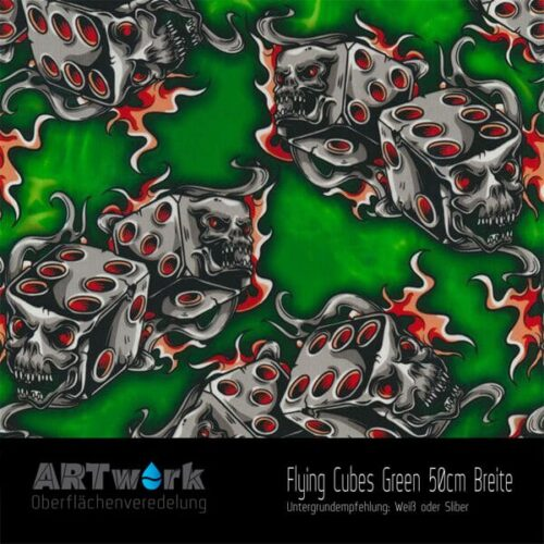 ARTwork, Wassertransferdruck, Folie Dlying Cubes green, 50cm Breite