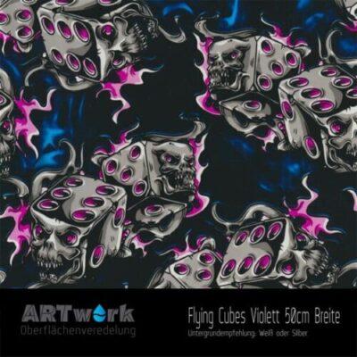 ARTwork, Wassertransferdruck, Folie Dlying Cubes violett, 50cm Breite