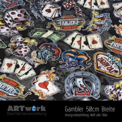 ARTwork, Wassertransferdruck, Folie Gambler, 50cm Breite
