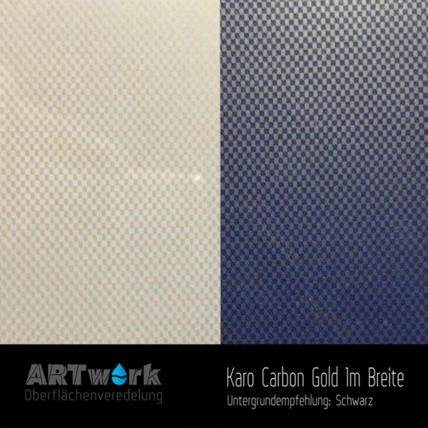 ARTwork, Wassertransferdruck, Folie Karo Carbon Gold, 1m Breite