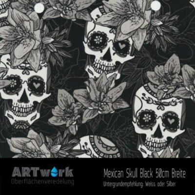 ARTwork, Wassertransferdruck, Folie Mexican Skull Black, 50cm Breite
