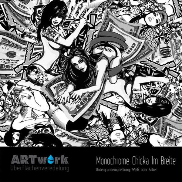 ARTwork, Wassertransferdruck, Folie Monochrome Chicka, 1m Breite