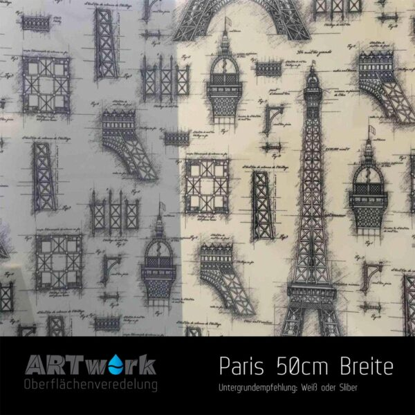 ARTwork, Wassertransferdruck, Folie Paris, Eifelturm, 50cm Breite