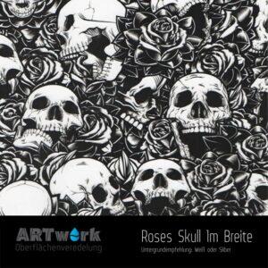 ARTwork, Wassertransferdruck, Folie Rosen und Totenschädel, 1m Breite