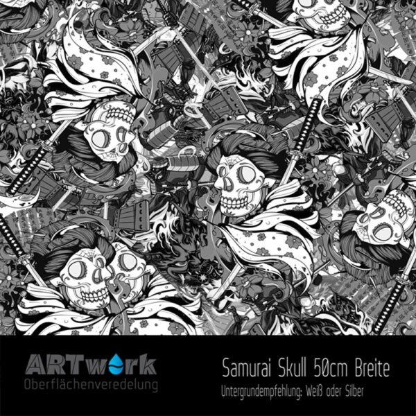 ARTwork, Wassertransferdruck, Folie Samurai Skull, 50cm Breite