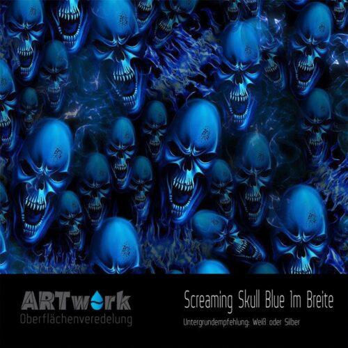 ARTwork, Wassertransferdruck, Folie Screaming Skull Blue, 1m Breite