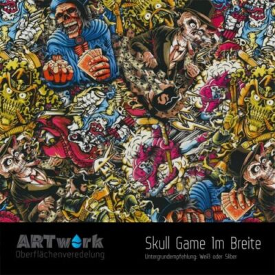 ARTwork, Wassertransferdruck, Folie Skull Game, 1m Breite