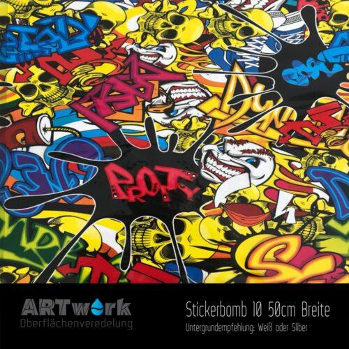 ARTwork, Wassertransferdruck, Folie Stickerbomb 10, 50cm Breite