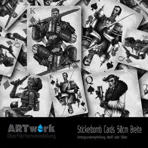 ARTwork, Wassertransferdruck, Folie Stickerbomb Cards, 50cm Breite