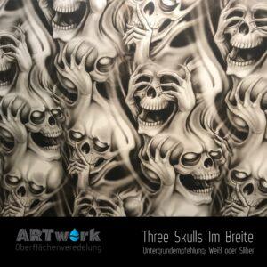 ARTwork, Wassertransferdruck, Folie Three Skulls, 1m Breite