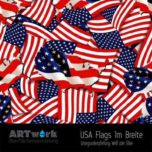 ARTwork, Wassertransferdruck, Folie USA Flags, 1m Breite